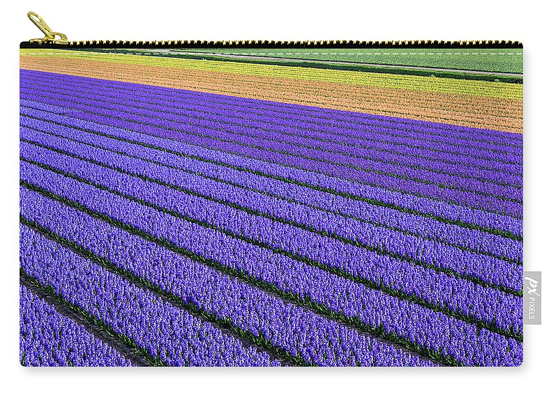 Tranquility Carry-all Pouch featuring the photograph Flower Fields In Spring In Holland by Frans Sellies