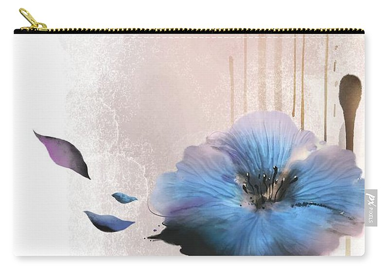 White Background Carry-all Pouch featuring the digital art Flower On White Background by Ivary