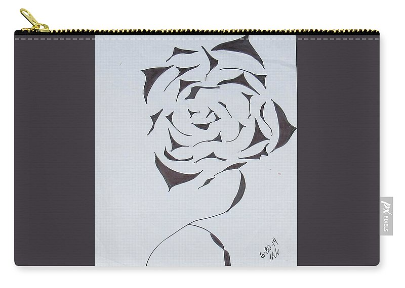 Flower Drawing Carry-all Pouch featuring the drawing Flower Opening by Bonnie Edmond