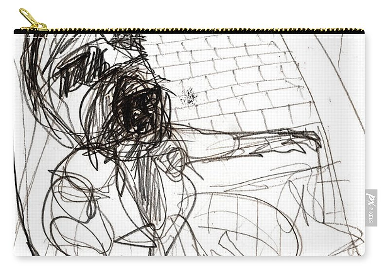 Pencil Carry-all Pouch featuring the drawing Flower Seller by Artist Dot