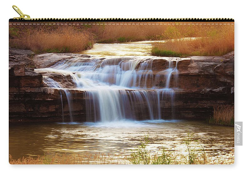 Scenics Carry-all Pouch featuring the photograph Flowing Water On The Yellow Rock by Xenotar