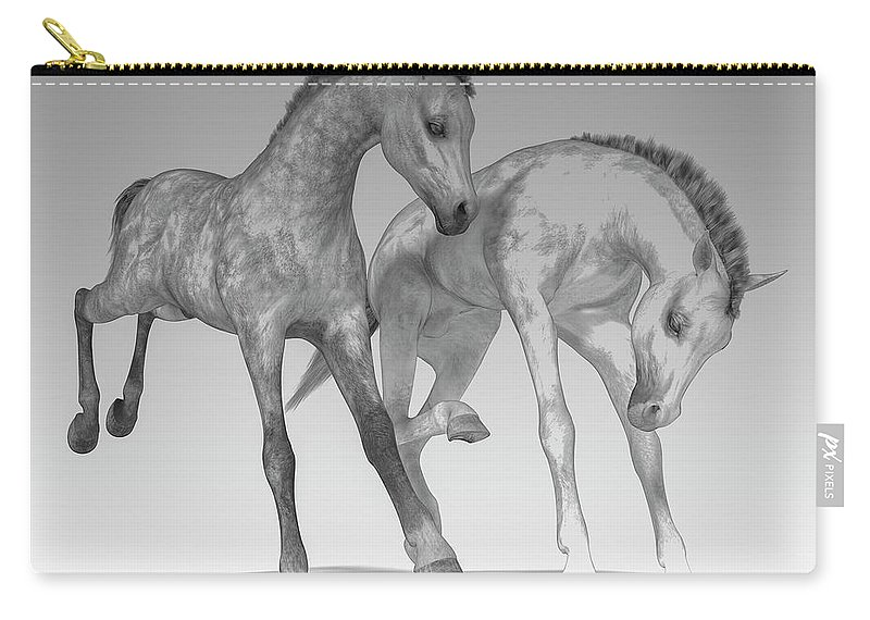 Horse Carry-all Pouch featuring the digital art Foals Black And White Bleached by Betsy Knapp