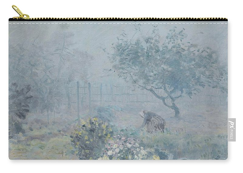 Alfred Sisley Carry-all Pouch featuring the painting Foggy Morning, Voisins, 1874 by Alfred Sisley
