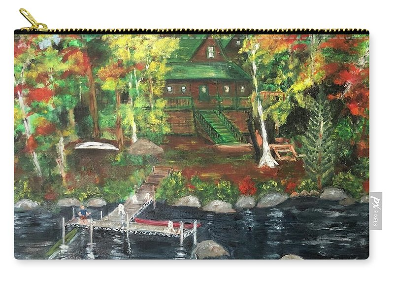 Fall Trees Orange Carry-all Pouch featuring the painting Fond Memories At Tupper Lake by Lucille Valentino