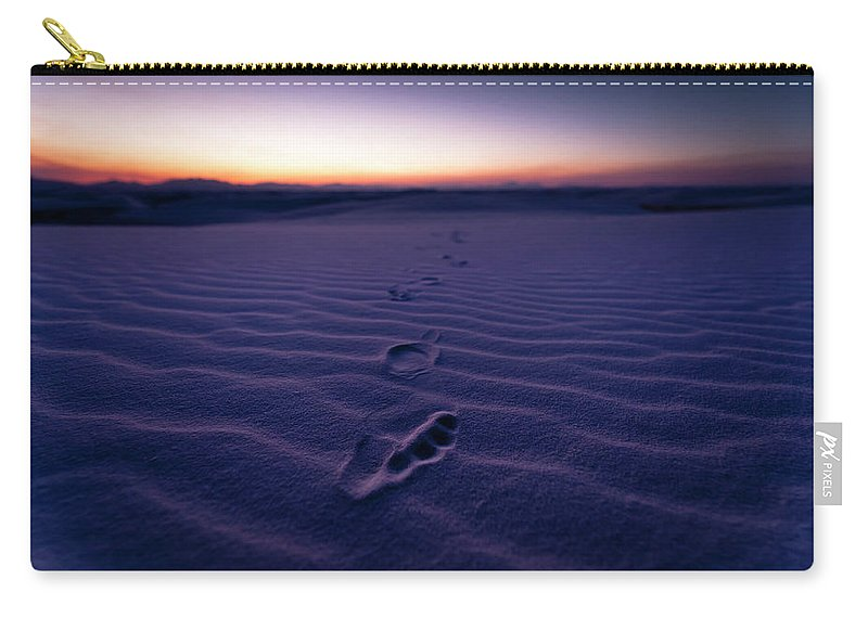 New Mexico Carry-all Pouch featuring the photograph Footprint On Dunes by Son Gallery - Wilson Lee