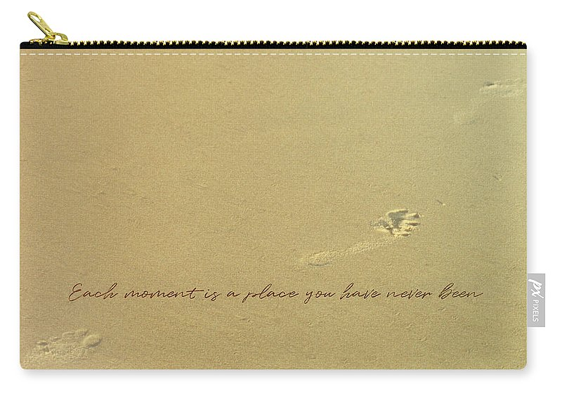 Footprint Carry-all Pouch featuring the photograph Footprints Quote by JAMART Photography