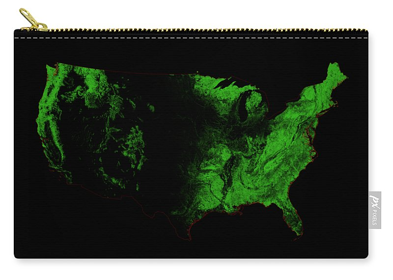 Map Print Carry-all Pouch featuring the digital art Forest Cover Map Of The Us by Grasshopper Geography