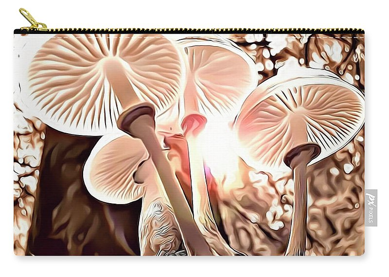 Forest Carry-all Pouch featuring the digital art Forest Mushrooms by Russ Carts
