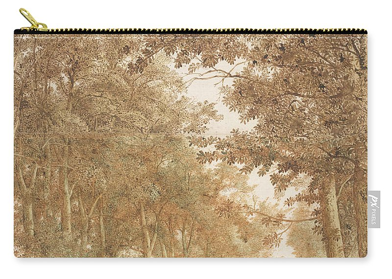 Cornelis Hendrickszoon Vroom (1591 Or 1592 Carry-all Pouch featuring the painting    Forest Road Wi by Cornelis Hendrickszoon Vroom    or