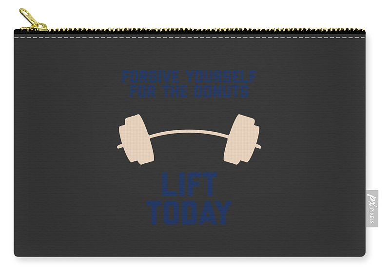 Squat-apparel Carry-all Pouch featuring the digital art Forgive Yourself For The Donuts Lift Today by Sourcing Graphic Design