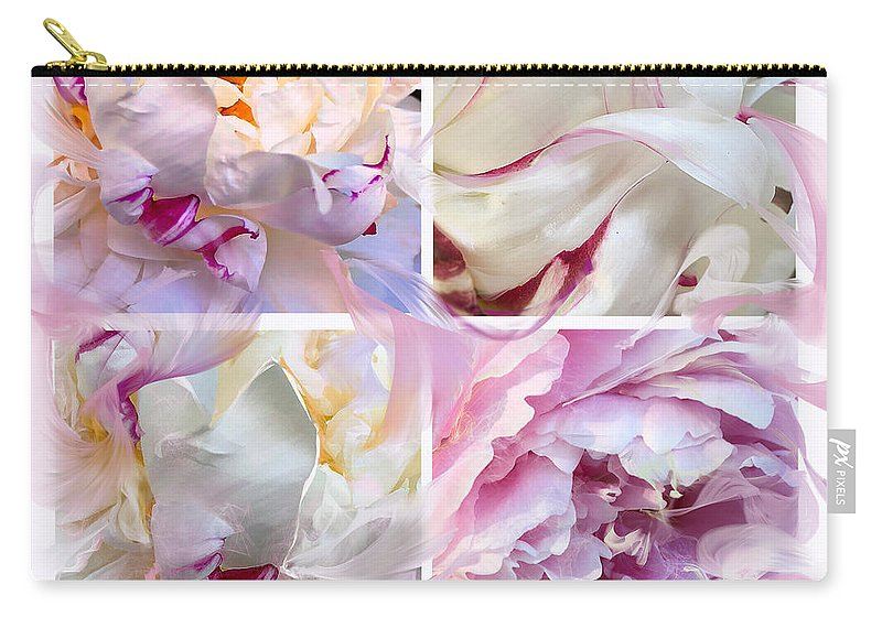 Abstract Flowers Carry-all Pouch featuring the digital art Four Peonies by Cindy Greenstein