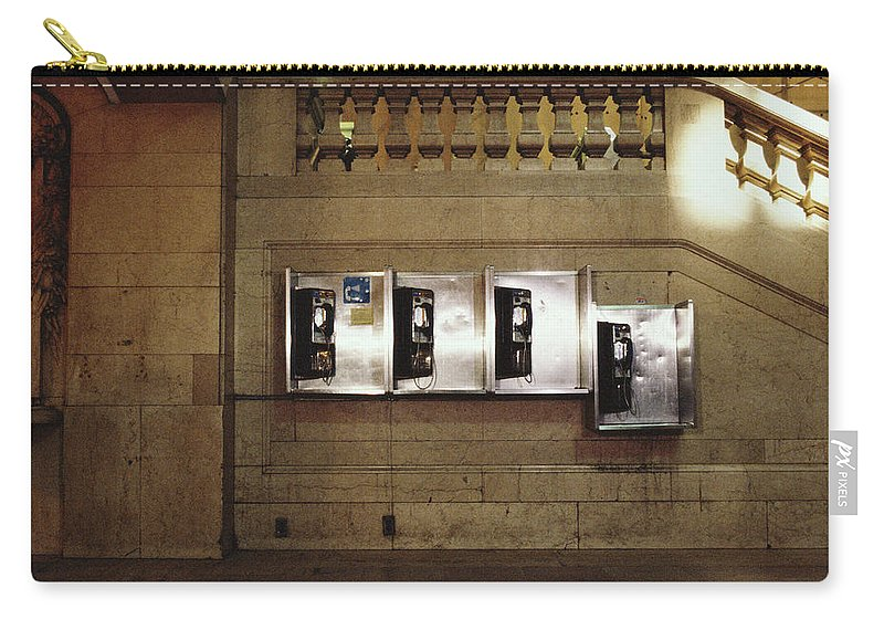 Pay Phone Carry-all Pouch featuring the photograph Four Telephone Booths On Marble Wall by Herb Schmitz