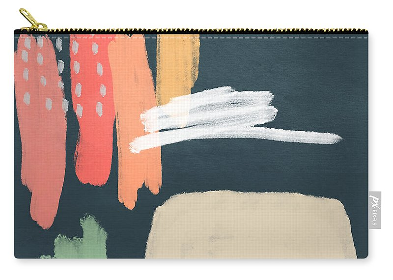 Modern Carry-all Pouch featuring the mixed media Fragments 2- Art by Linda Woods by Linda Woods