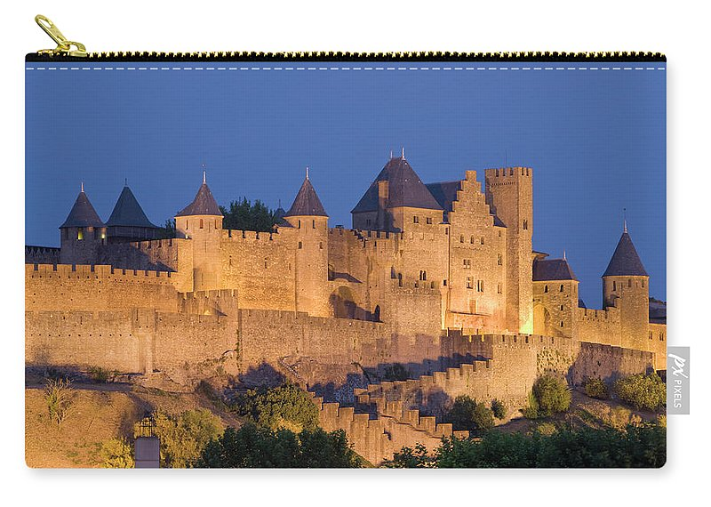 Majestic Carry-all Pouch featuring the photograph France, Languedoc, Carcassonne, Castle by Martin Child