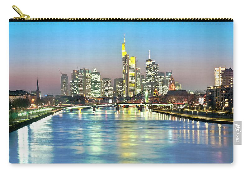 Hesse Carry-all Pouch featuring the photograph Frankfurt Night Skyline by Ixefra