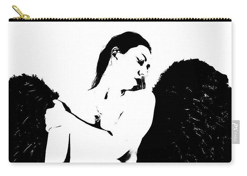 Frankie The Dark Angel Carry-all Pouch featuring the photograph Frankie The Dark Angel by Sandra Cockayne ADPS