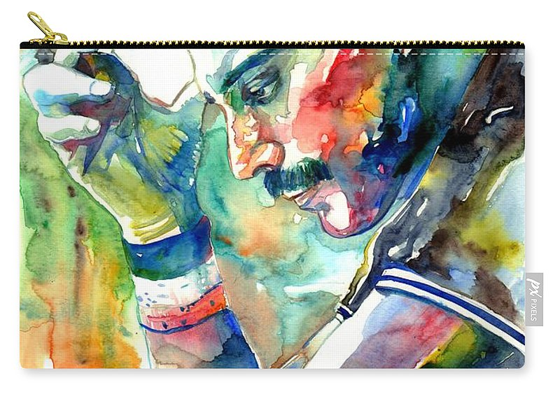 Freddie Mercury Carry-all Pouch featuring the painting Freddie Mercury With Cigarette by Suzann Sines