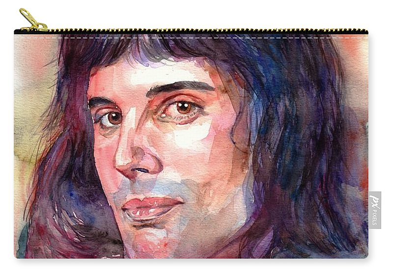 Freddie Mercury Carry-all Pouch featuring the painting Freddie Mercury young by Suzann Sines
