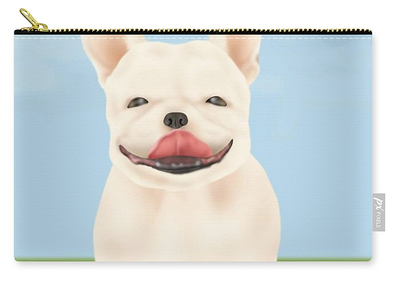 Pets Carry-all Pouch featuring the digital art French Bulldog Sitting On Green Field by Daj