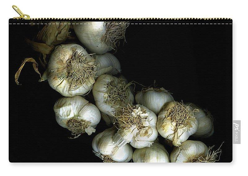 Black Background Carry-all Pouch featuring the photograph French Garlic by Photograph By Magda Indigo