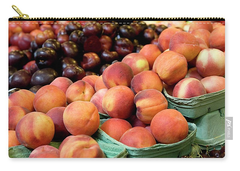 Cherry Carry-all Pouch featuring the photograph Fresh Peaches At Organic Market by Lillisphotography