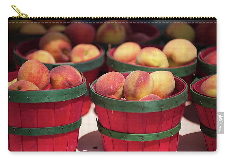 Retail Carry-all Pouch featuring the photograph Fresh Texas Peaches In Colorful Baskets by Txphotoblog - Randy Ennis