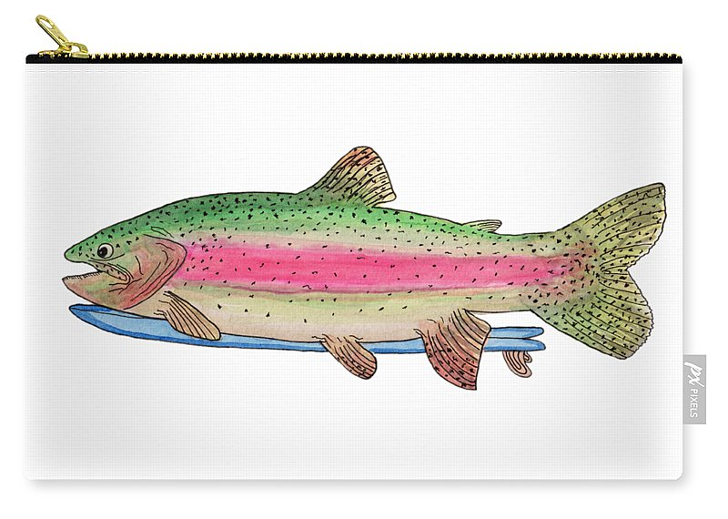 Trout Carry-all Pouch featuring the painting Rainbow Trout On A Fish by Tate MacDowell