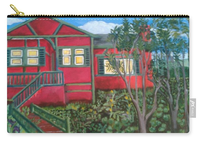 Painting Of House Carry-all Pouch featuring the painting Fresh yard by Andrew Johnson