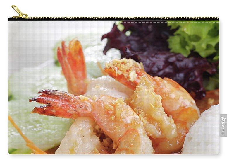 Thai Food Carry-all Pouch featuring the photograph Fried Shrimps With Garlic by Shyman