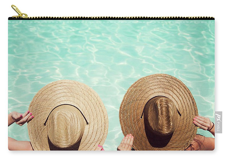 Fedora Carry-all Pouch featuring the photograph Friends By The Pool by Becon
