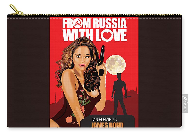 Vector Computer Mouse Click Illustrator Design Girl Moon Gun Psycho Killer Landscape James Bond Spy Lector England Russia Love Carry-all Pouch featuring the digital art From Russia With Love by Robert Korhonen