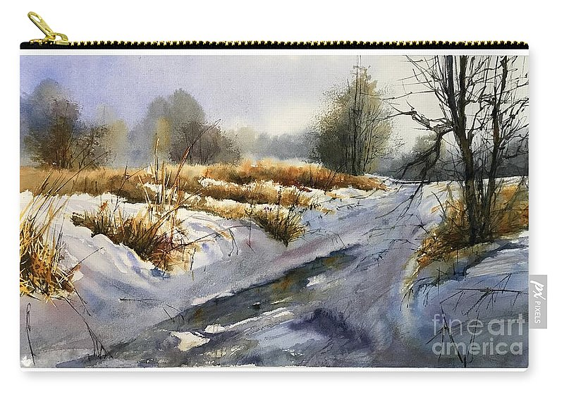 Winter Carry-all Pouch featuring the painting Frozen Brook by Suzann Sines