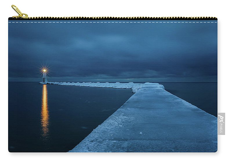 Tranquility Carry-all Pouch featuring the photograph Frozen Path by John Fan Photography