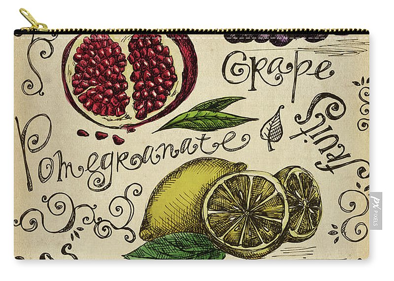 Doodle Carry-all Pouch featuring the digital art Fruits by Kalistratova