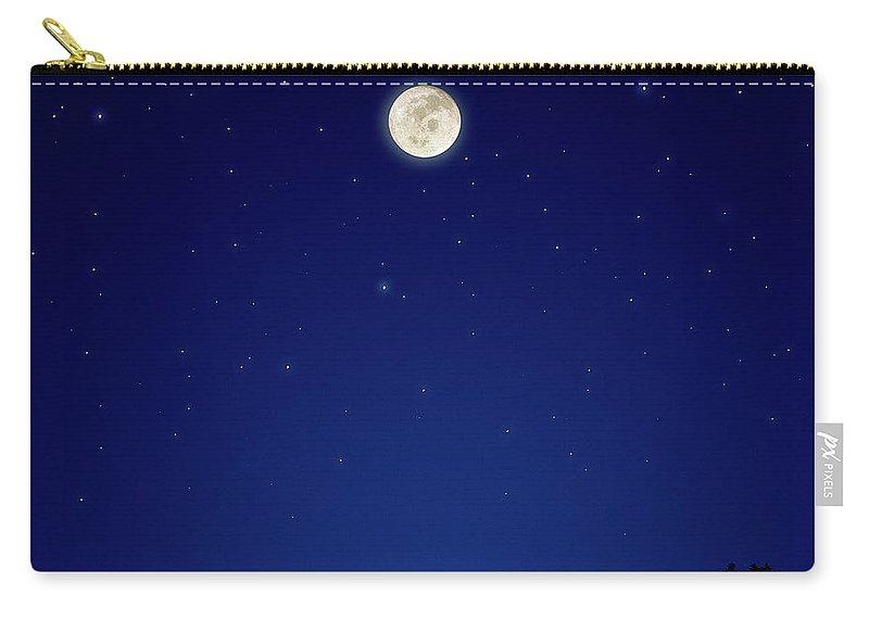 Constellation Carry-all Pouch featuring the photograph Full Moon Over New Hampshire by Soubrette