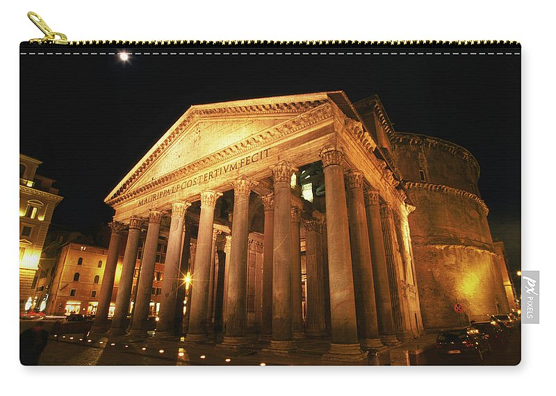 Pantheon Carry-all Pouch featuring the photograph Full Moon Over Pantheon And Portico by Lonely Planet