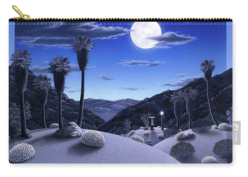 Desert Carry-all Pouch featuring the painting Full Moon Rising by Snake Jagger