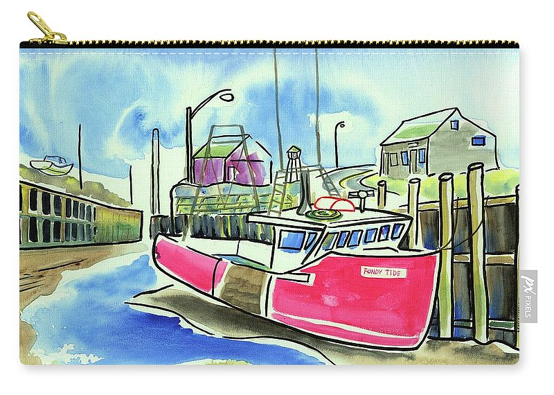 Red Boat Carry-all Pouch featuring the painting Fundy Tide Hall's Harbour by Kevin Cameron