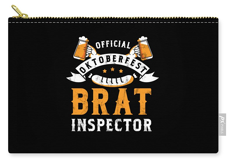 Bratwurst Carry-all Pouch featuring the digital art Funny Official Oktoberfest Brat Inspector Bratwurst by Thomas Larch