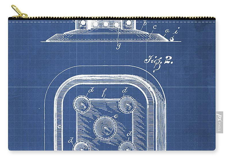 Art Carry-all Pouch featuring the drawing Game Board Castle Patent Year 1896 Vintage Game by Drawspots Illustrations