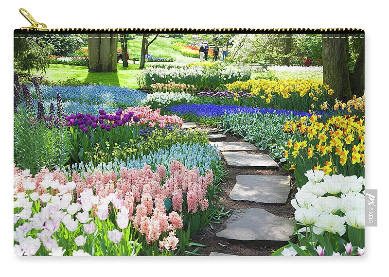 Flowerbed Carry-all Pouch featuring the photograph Garden Flowers 53 Xxxl by Lya cattel