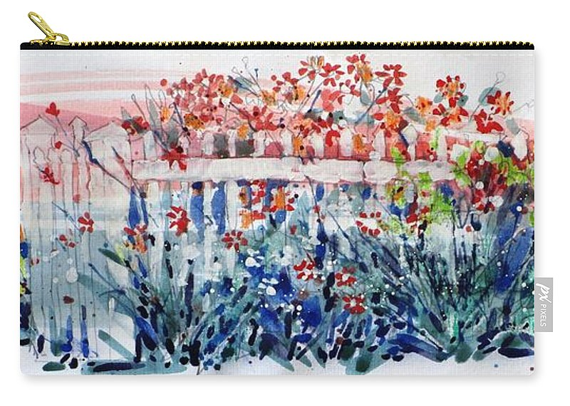 Garden. Flower Garden Carry-all Pouch featuring the painting Garden Parade by Larry Lerew