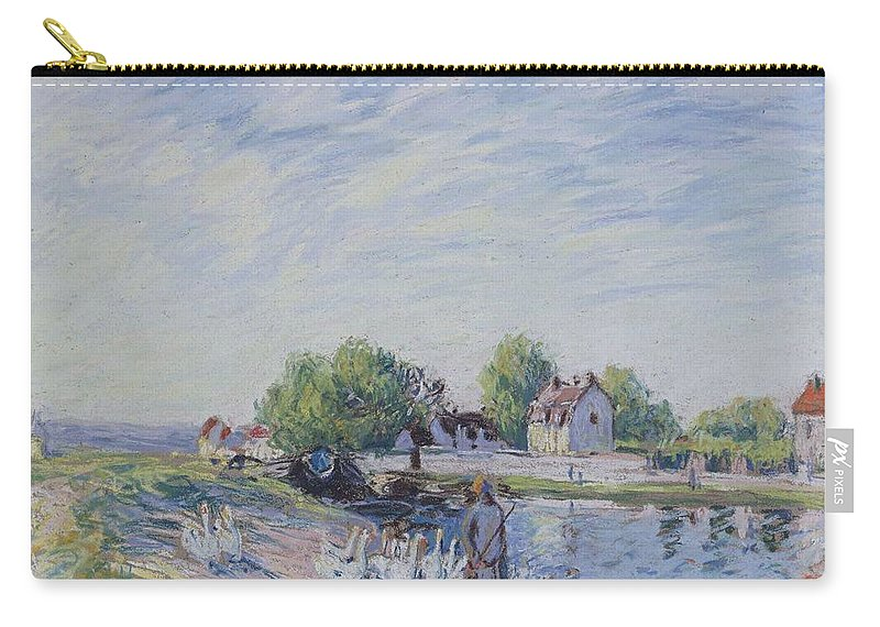 Alfred Sisley Carry-all Pouch featuring the painting Geese At Saint-mammes by Alfred Sisley