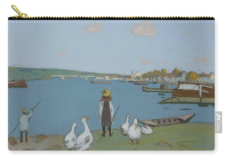 Alfred Sisley Carry-all Pouch featuring the painting Geese By The River Loing 02 by Alfred Sisley