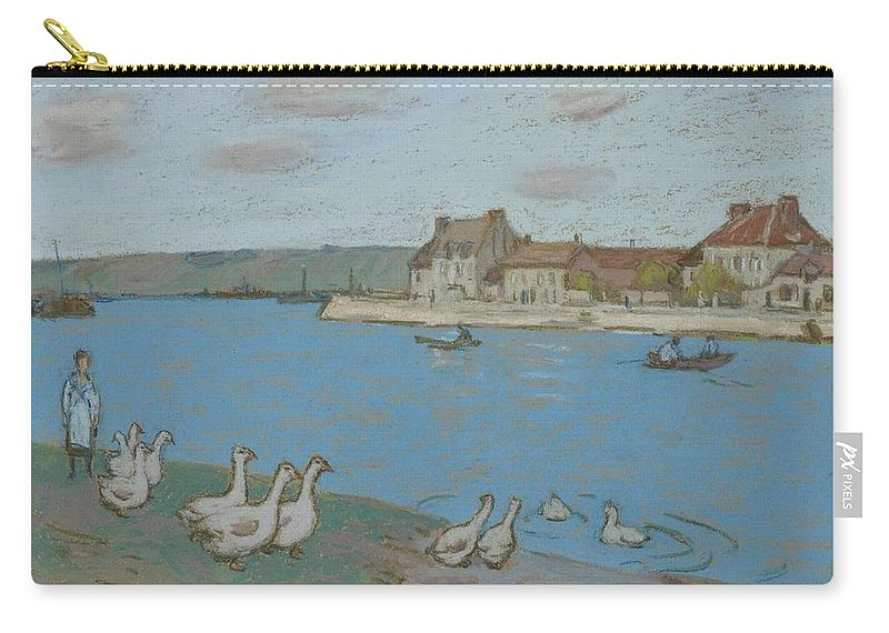 Alfred Sisley Carry-all Pouch featuring the painting Geese By The River Loing 03 by Alfred Sisley