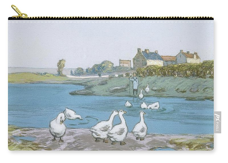 Alfred Sisley Carry-all Pouch featuring the painting Geese By The River Loing 04 by Alfred Sisley