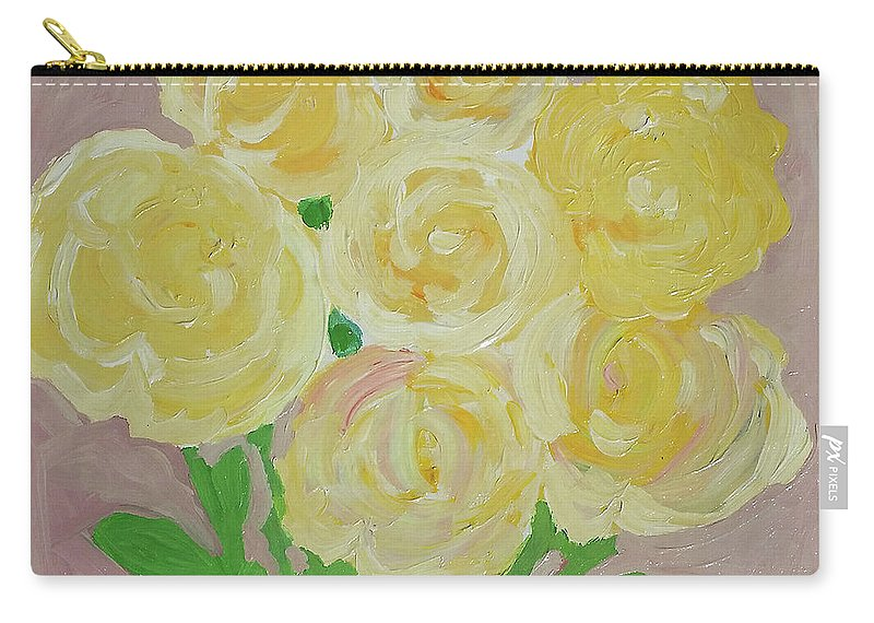 Yellow Roses Carry-all Pouch featuring the painting Gentle Yellow Bouquet by Karen Szybalski