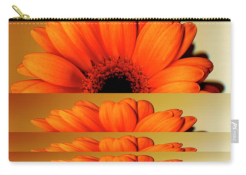 Orange Color Carry-all Pouch featuring the digital art Gerbera Flower As Rising Sun by Eversofine
