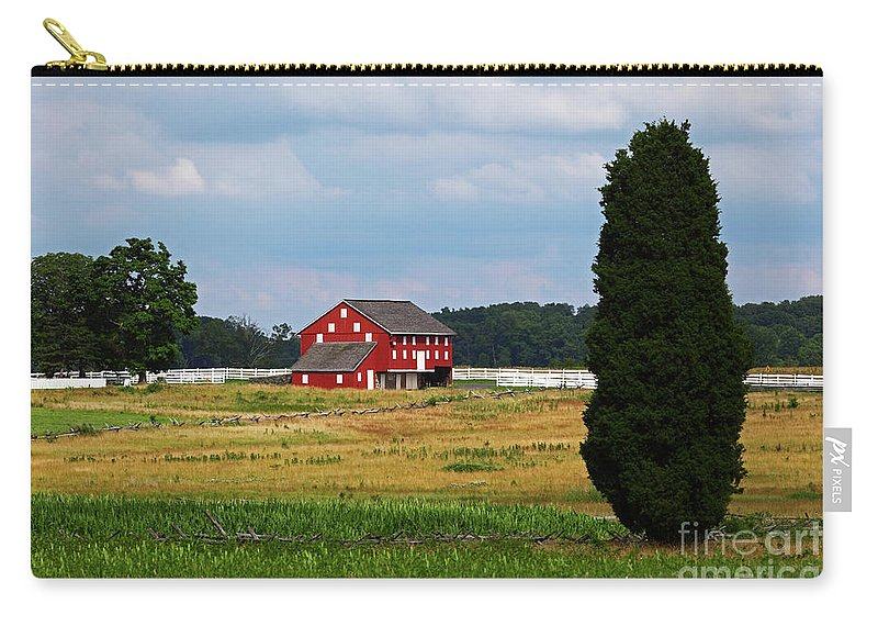Gettysburg Carry-all Pouch featuring the photograph Red Barn On Sherfy Farm Gettysburg by James Brunker