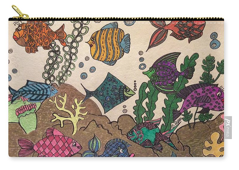 Fish Carry-all Pouch featuring the drawing Gils Night Out by Bernadette Ferrell